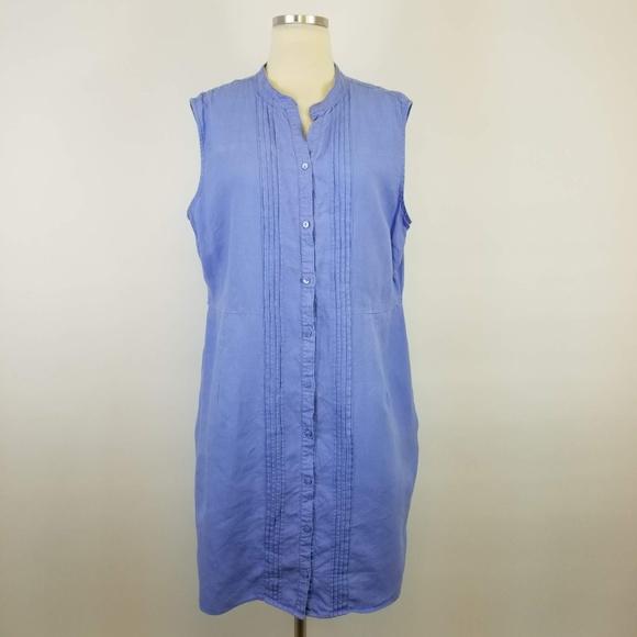 14832fd581715 L.L. Bean Dresses   Skirts - LL Bean Blue Linen Pintuck Sleeveless Dress -  R1